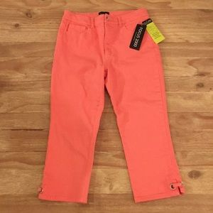 Focus 2000 Fabulous Fit Capri Jeans Coral Salmon